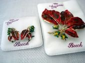 Signed Exquisite Copper Beech Brooch with Matching Earclips SOLD)
